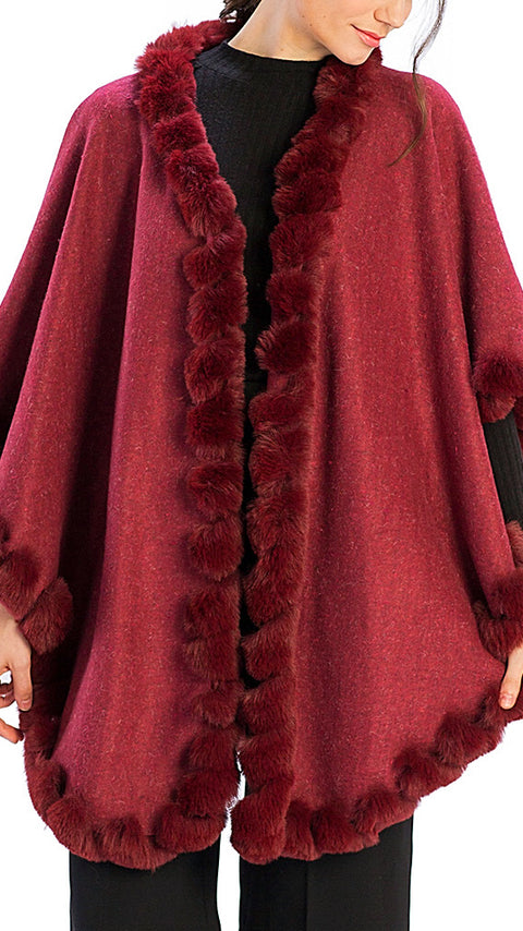 Eleanor Faux Fur Wrap - Burgundy