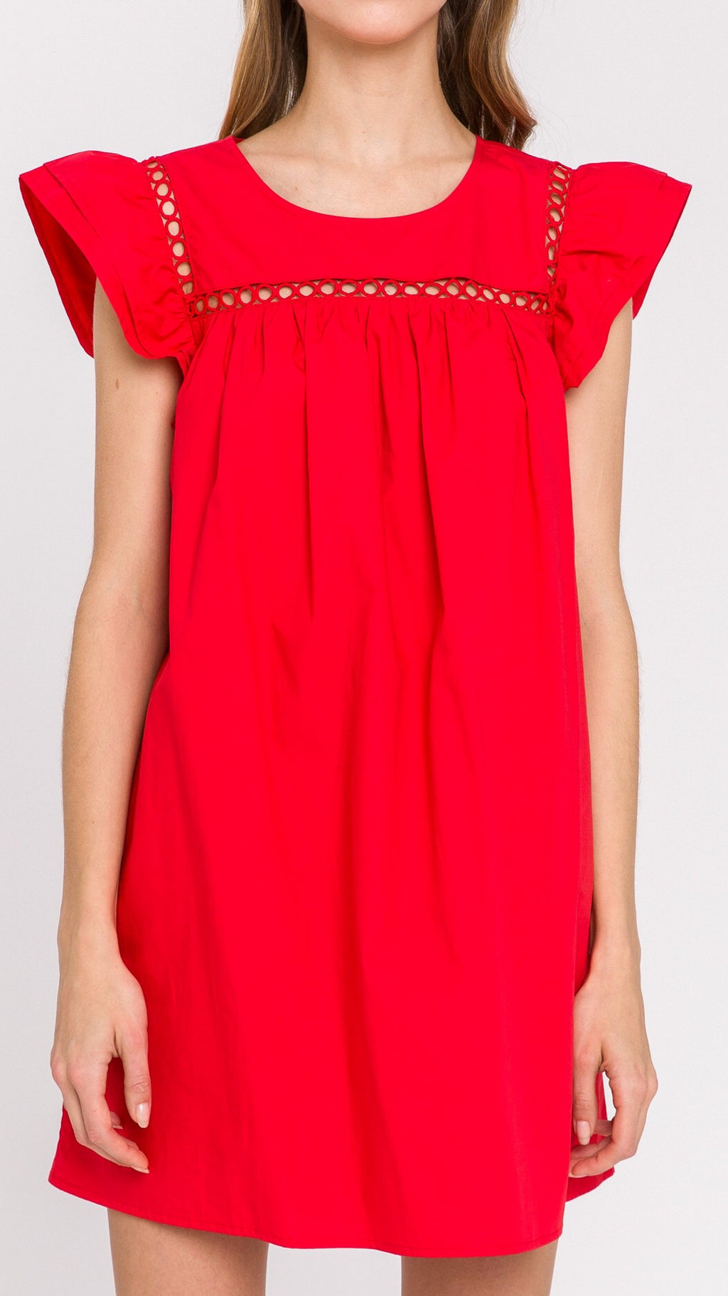 Lele Lace Trim Dress - Red