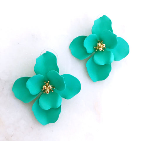 Layered Fleur Studs - Sea Green
