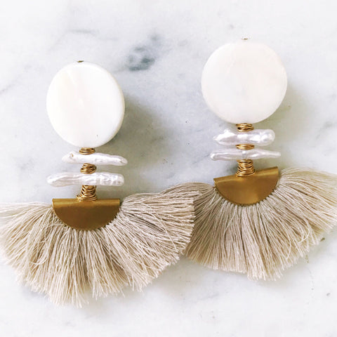 Ella Earrings - Taupe