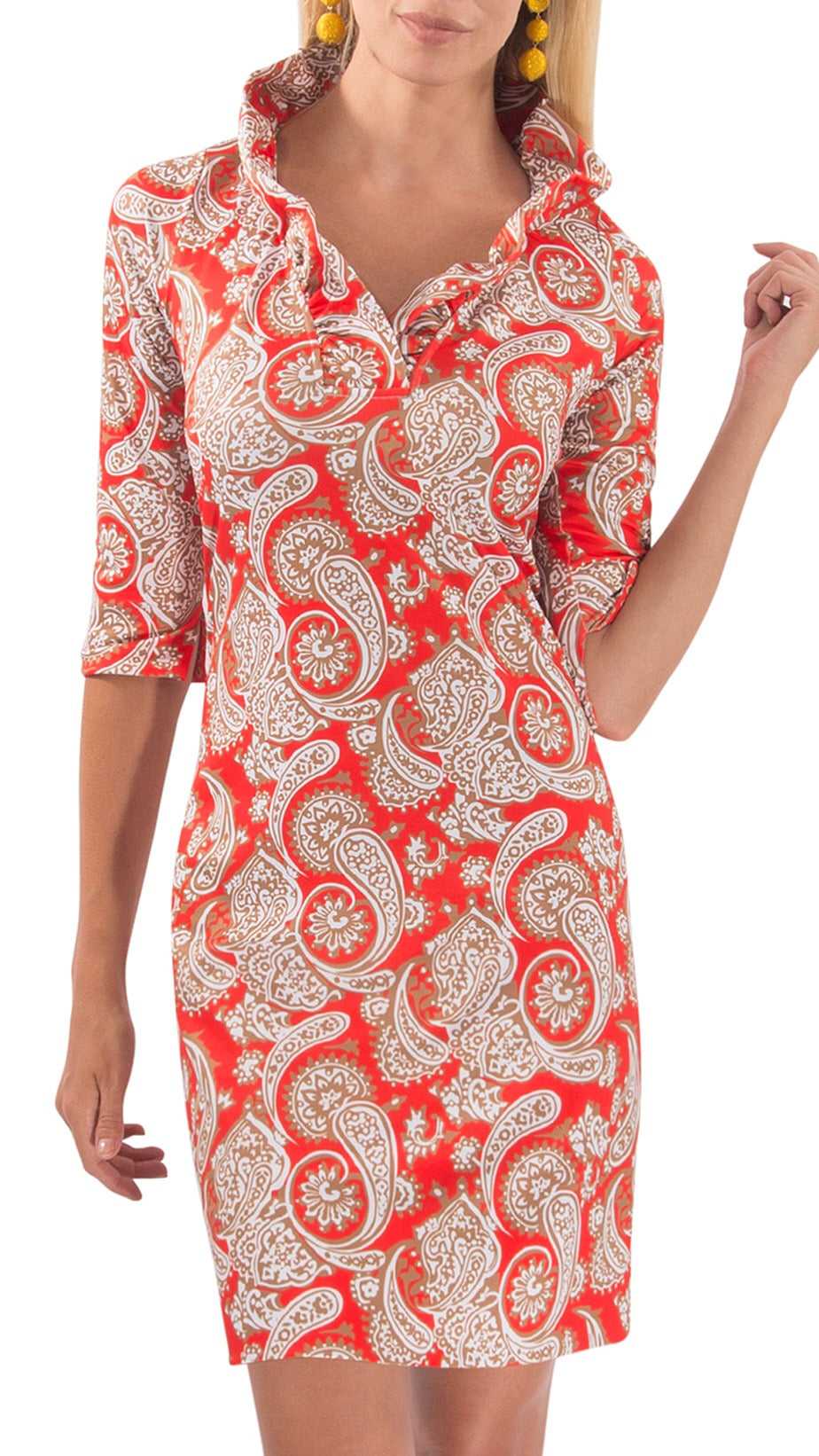 Posey Ruffleneck Dress - Orange Paisley