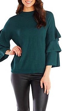 Dawson Ruffle Sleeved Top - Peacock