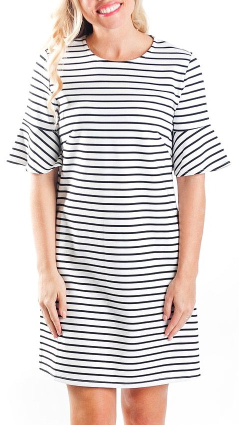 Diana Bell Sleeve Dress - Stripe