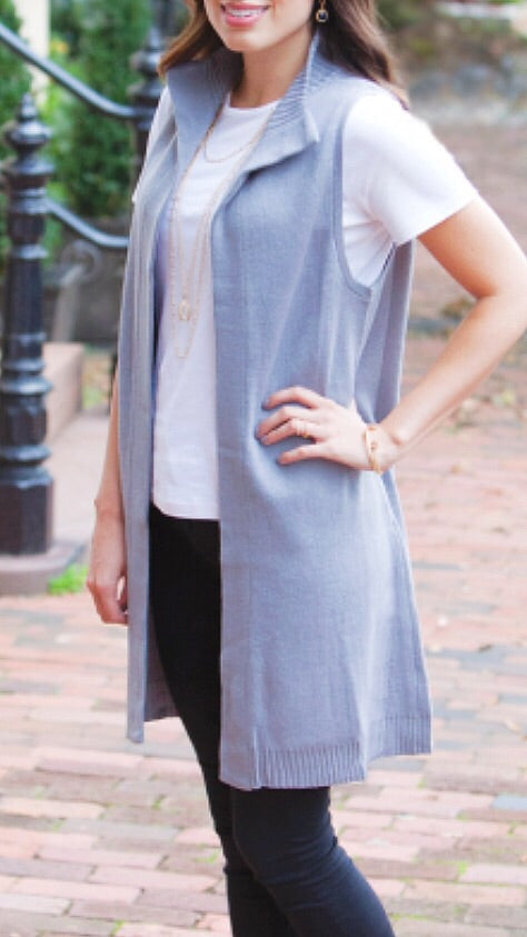 Long Georgia Vest - Grey