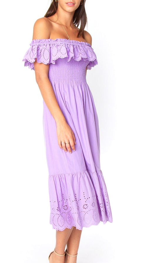 Betsy Midi Off-the-Shoulder Dress - Lavender