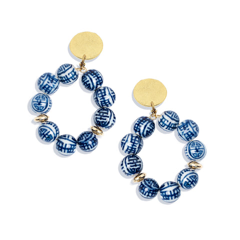 Ginger Jar Earrings - Blue + White