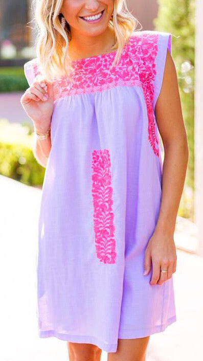 Oh Maria Embroidered Dress - Lilac + Coral