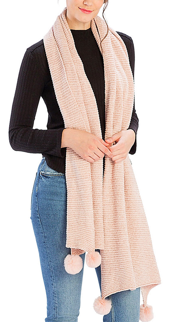 Pom Pom Ribbed Scarf - Blush
