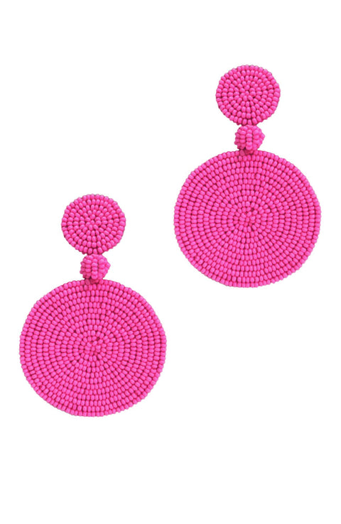Cape Town Beaded Disc Earrings - Pink *Clip-On