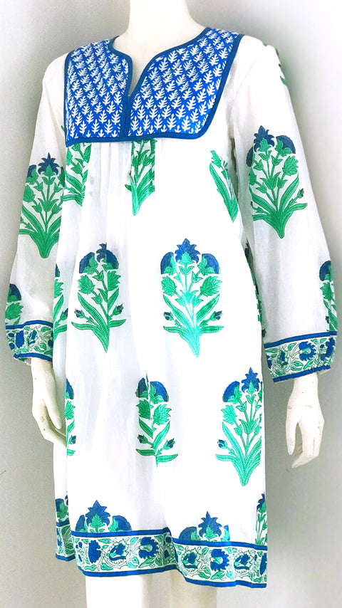 Jaipur Dress - Palladio Garden Print in Blue + Green