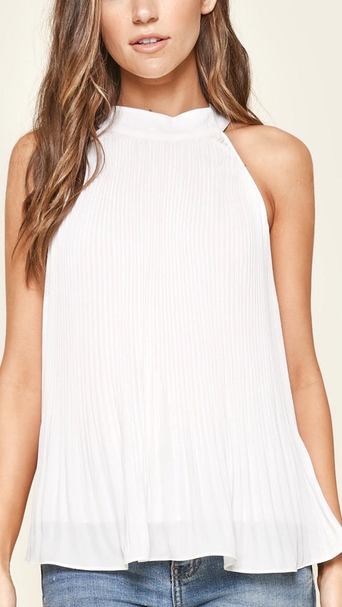 Miriam Pleated Halter Top - White