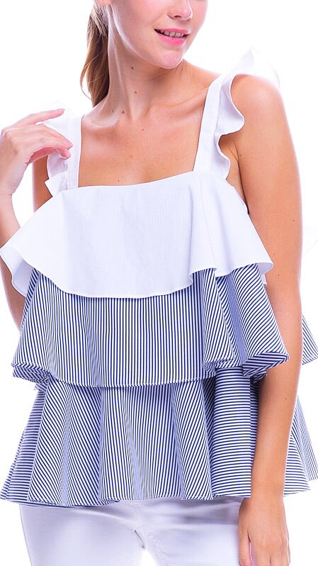 Lottie Layered Top - Blue + White