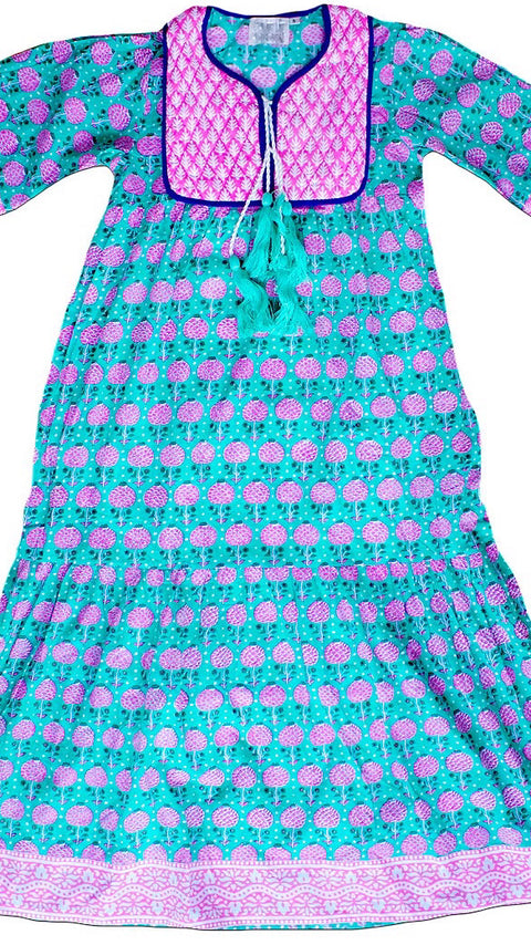 Jodhpur Tiered Maxi - Pineapple Print in Mint + Eva Pink *PRE-ORDER*