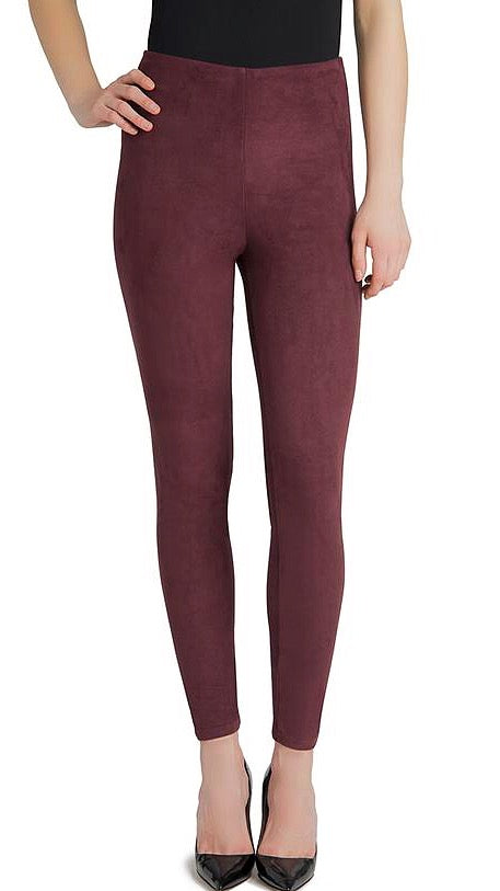 High Waist Suede Legging - Burgundy