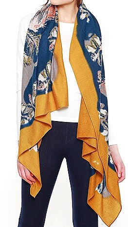Feather and Floral Scarf - Mustard