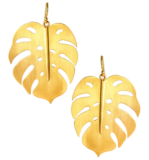 Lola Palm Earrings - Brushed Gold