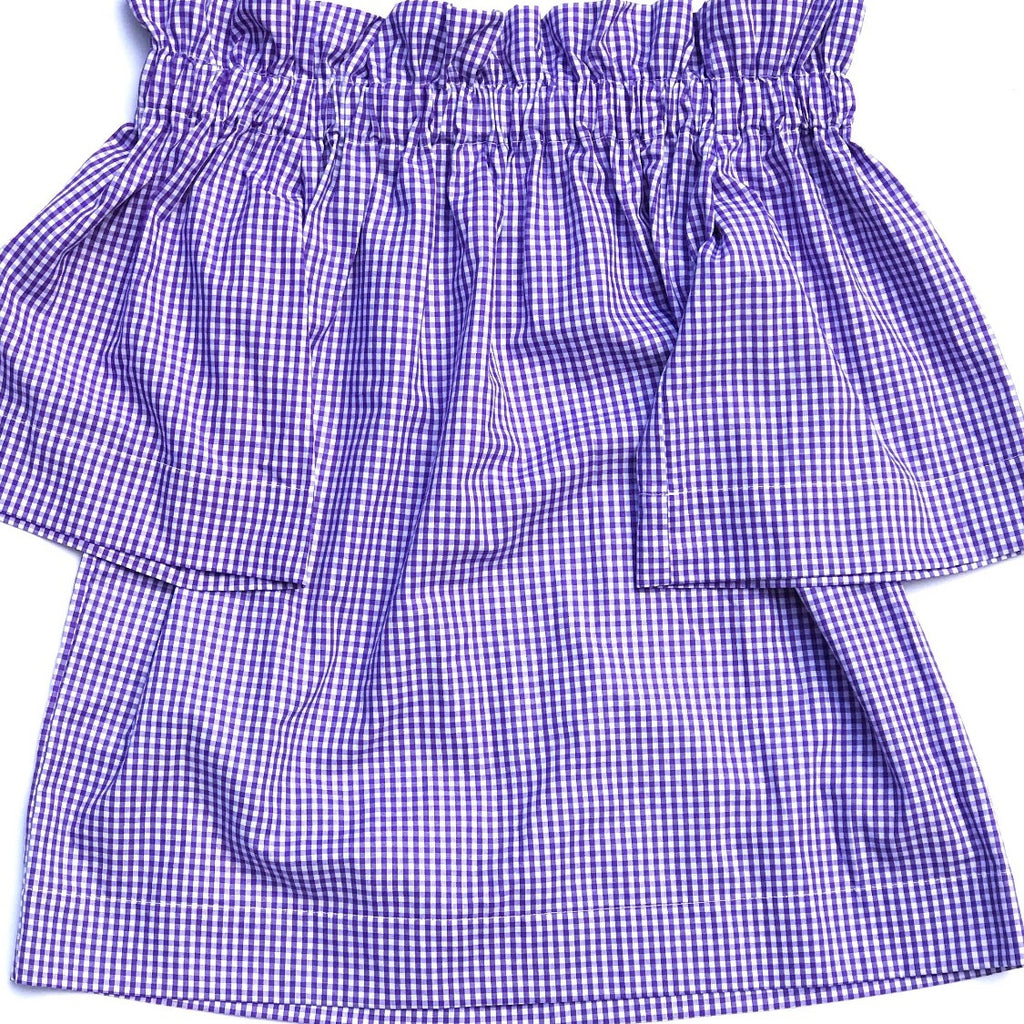 The Derby Off-the-Shoulder Top - Purple Mini Gingham