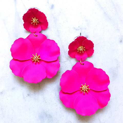 Double Flower Drops - Hot Pink