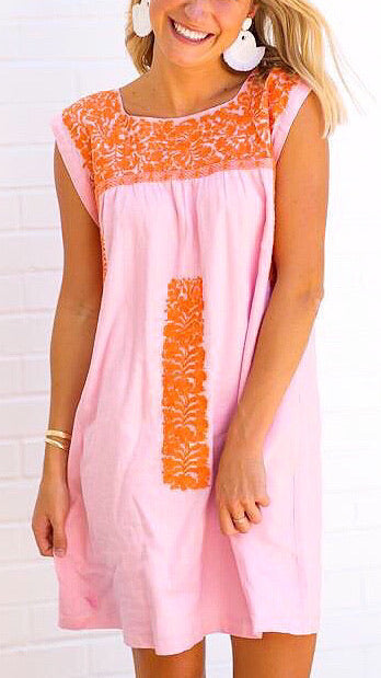 Oh Maria Embroidered Dress - Light Pink + Coral