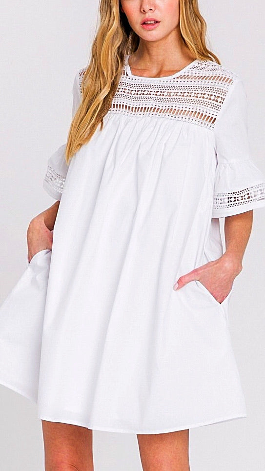 Rebecca Lace Bell Sleeve Dress - White