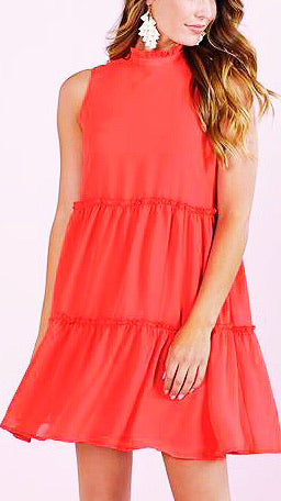 Naomie Tiered Dress - Coral