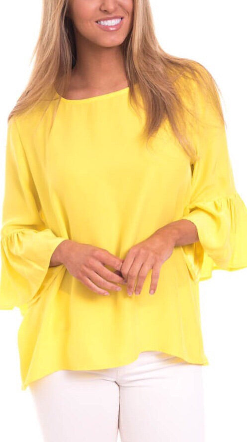 Ivy Silk Top - Canary