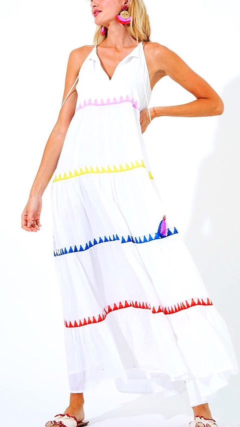 Dahlia Tiered Maxi - Multi White