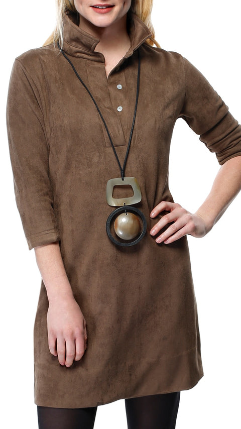 Suede Everywhere Dress - Brown