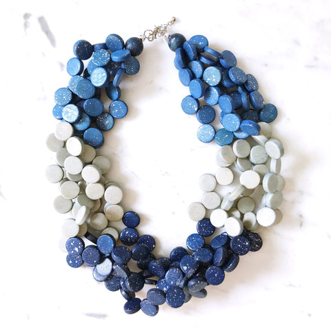 Chunky Moon Necklace - Blue