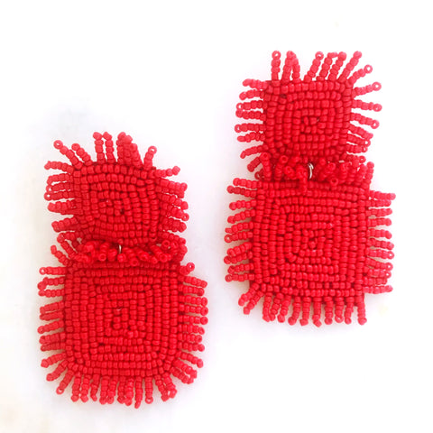 Carrie Beaded Earrings - Red