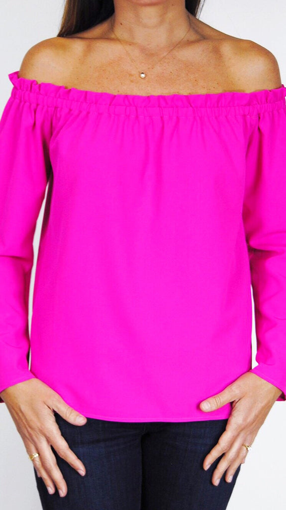 Betty L/S Off-the-Shoulder Top - Pink