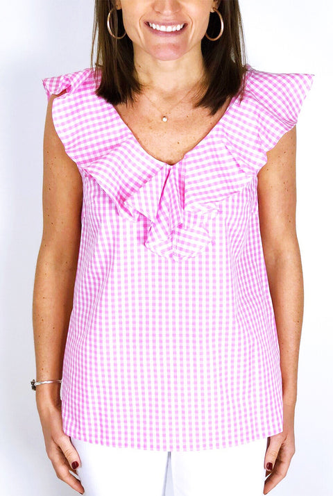 Elizabeth V-Neck Top - Pink Gingham