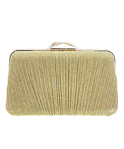 Shimmer Pleated Clutch - Gold