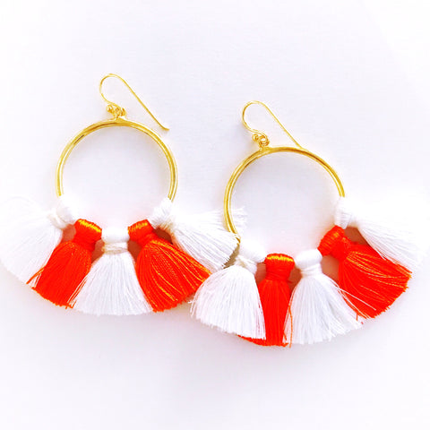 Gameday Earrings - Orange + White