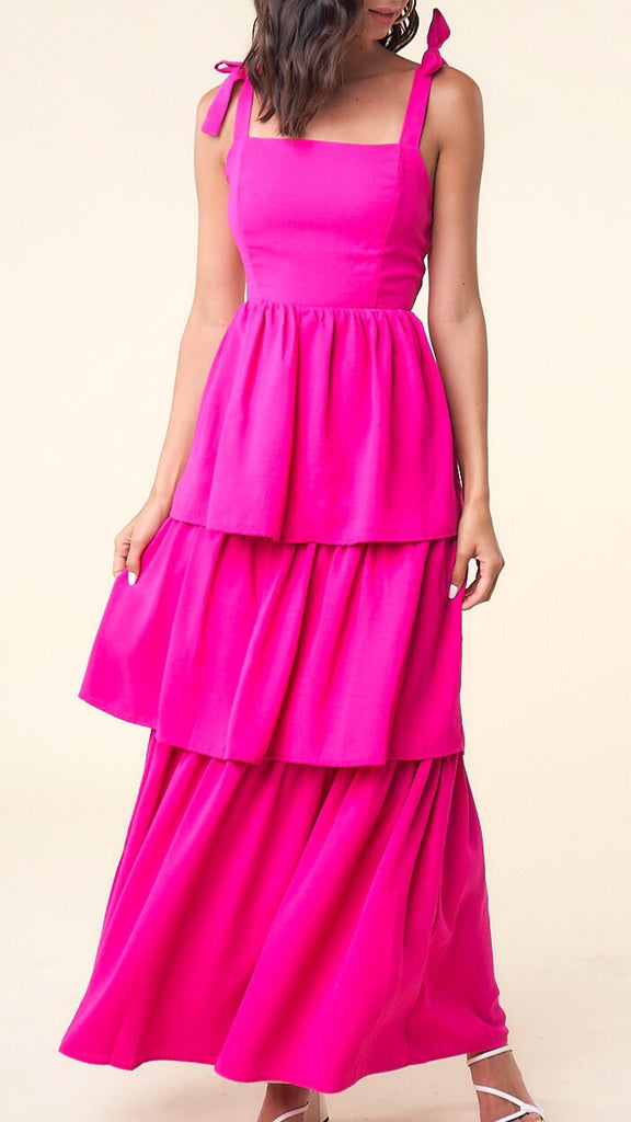 Kimmie Tiered Maxi - Hot Pink