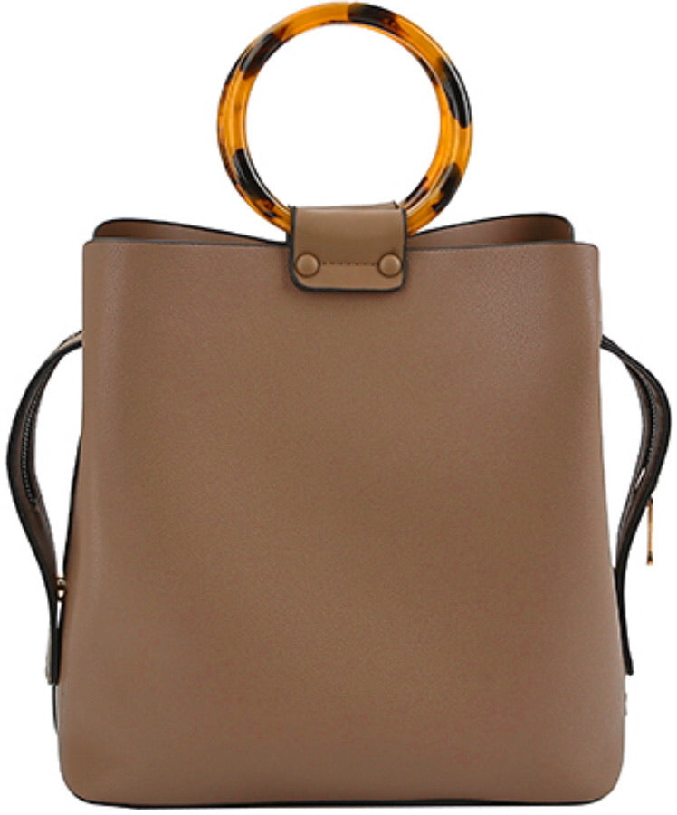 Tortoise and Faux Leather Bucket Purse - Taupe