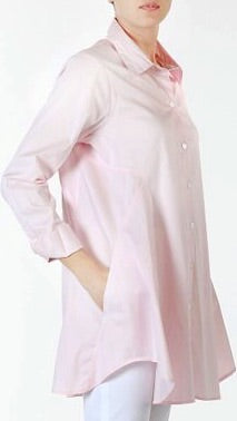 Mary Flare Button Down - Pale Pink