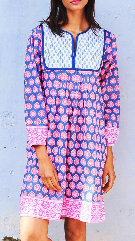 Jaipur Dress - Neon Papaya Bagru Stamp