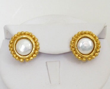 Round Pearl Studs - Gold