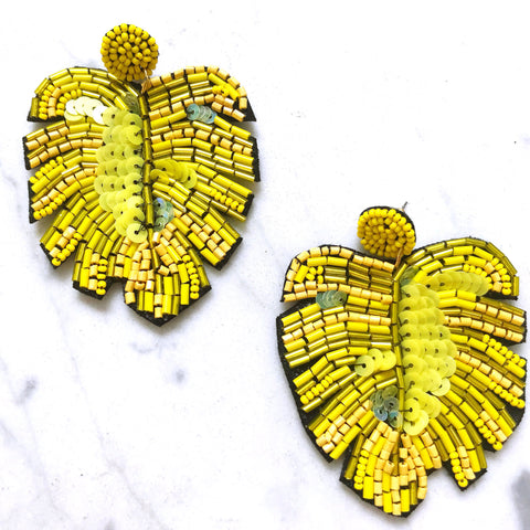 Banana Leaf Earrings - Yellow