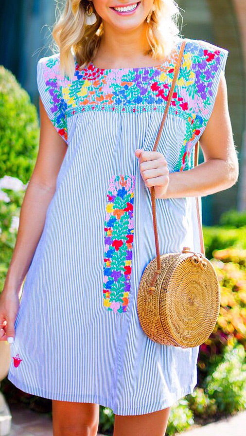 Oh Maria Embroidered Dress - Striped Multi
