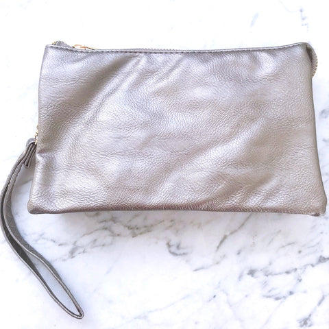 Faux Soft Leather Crossbody - Pewter