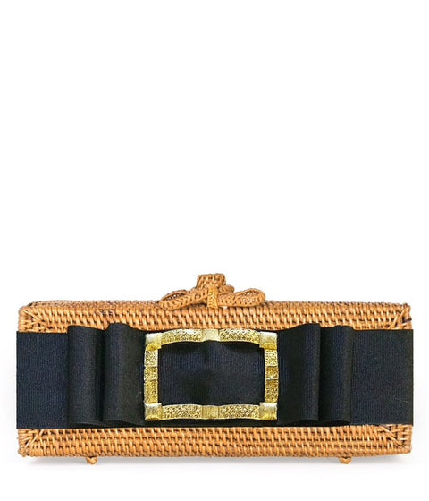 Colette Clutch - Black Gold Buckle