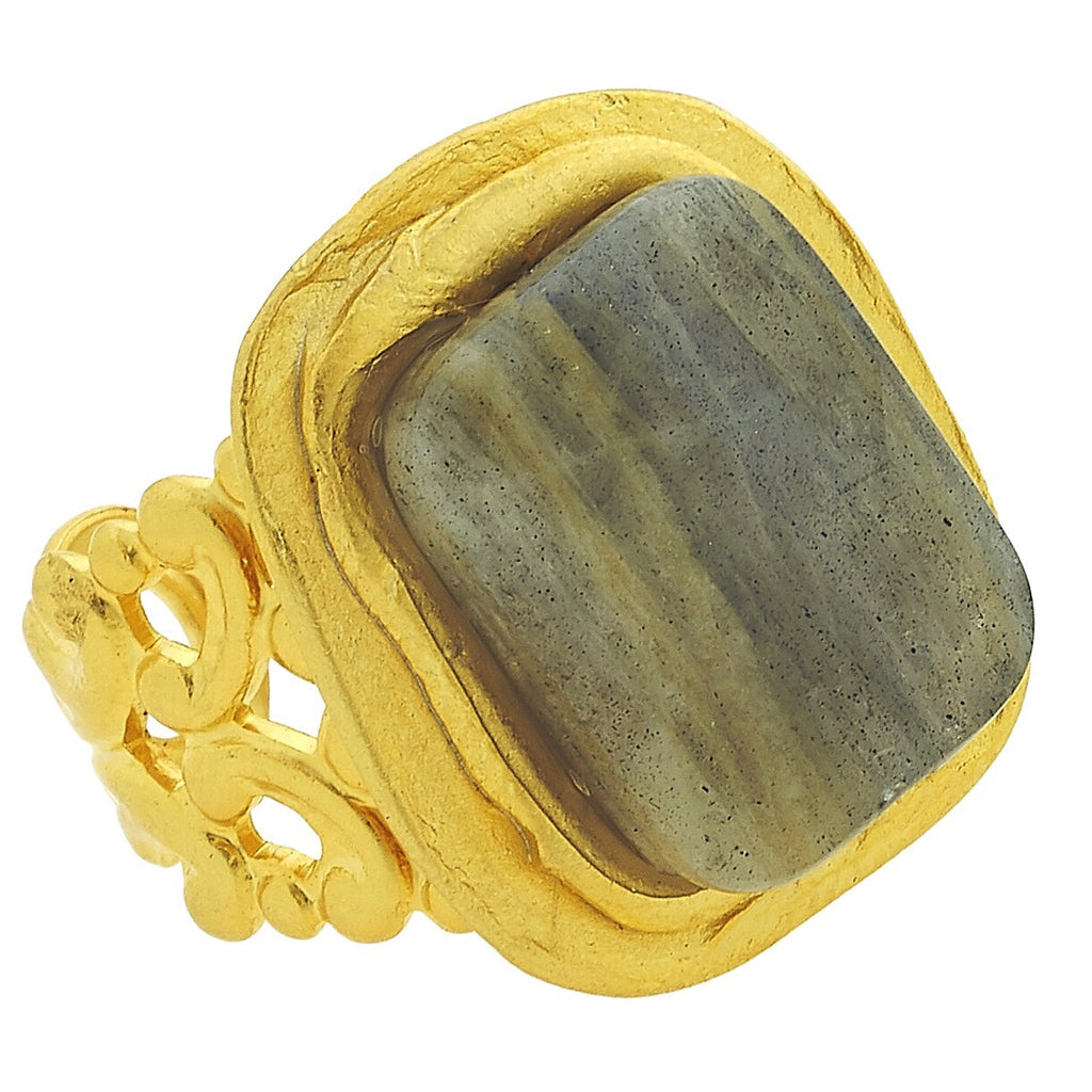 Rectangle Stone Ring - Labordorite