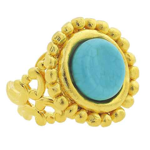 Handcast Round Ring - Turquoise