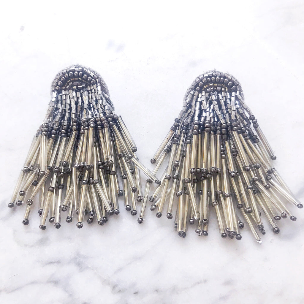 Firecracker Earrings - Pewter Beads