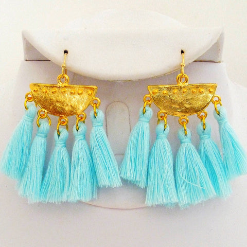 Half Moon Tassel Earrings - Aqua