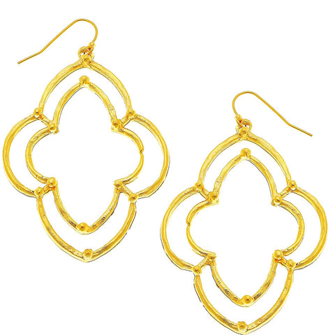 Scalloped Clover Earrings - Gold