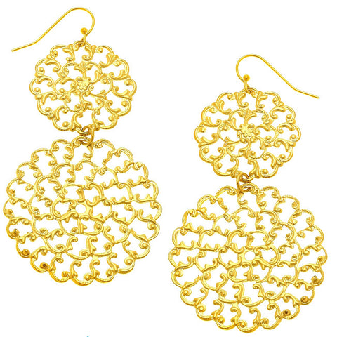 Double Filigree Earrings - Gold