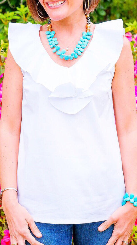 V-Neck Ruffle Top - White *PRE-ORDER*